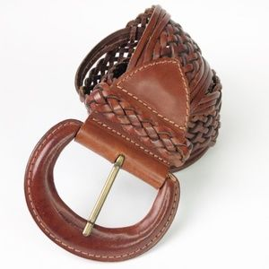 Express Accessories - Express Wide Leather Woven Brown Belt R85